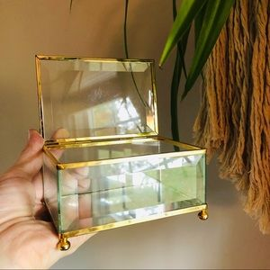 Large Faceted Clear Glass Trinket Jewelry Box Tray